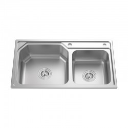 "2 BOWL STAINLESS STEEL SINK C/W 3 1/2""-Genova Series"
