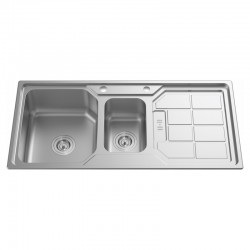 "1 1/2""  BOWL 1 DRAINER STAINLESS STEEL SINK C/W 3 1/2""-Genova Series"