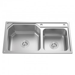 "2 BOWL STAINLESS STEEL SINK C/W 3 1/2""-Cassino Series"