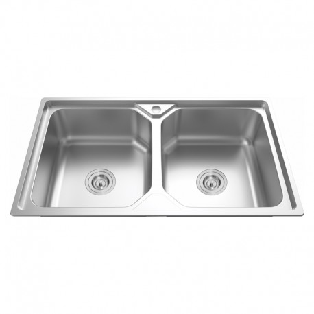 """2 BOWL STAINLESS STEEL SINK C/W 3 1/2""""-Cassino Series"""