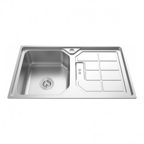 """1 BOWL 1 DRAINER STAINLESS STEEL SINK C/W 3 1/2""""-Cassino Series"""