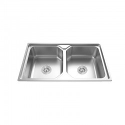 "EK 38348 2 BOWL STAINLESS STEEL SINK C/W 3 1/2""-Genova Series"